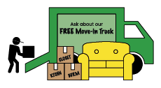 cartoon moving truck with text that says ask about our free move-in truck